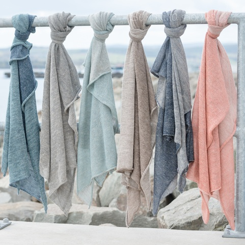 Large Two-Tone Alpaca & Linen Summer Scarf