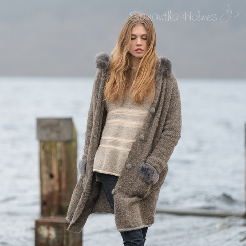 Big Boucle Alpaca Cardigan with Fur Hood