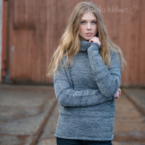 Guernsey roll neck alpaca sweater