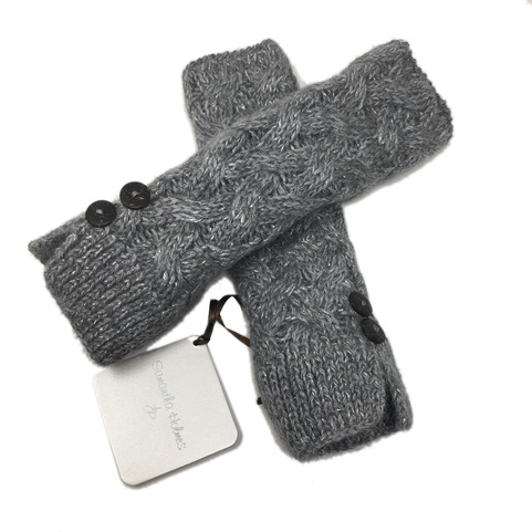 Frosted Alpaca Cable Fingerless Mittens