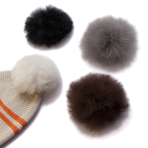 Alpaca Fur Pom Pom with press stud x5