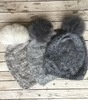 Frosted Cableknit Pom Pom Hat