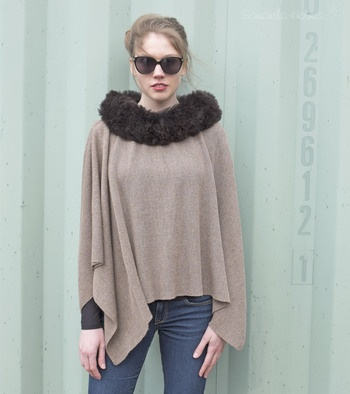 Alpaca Fur Trim Cape