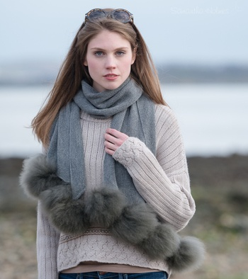 Alpaca Fur Pom Pom Wrap (selected colours now reduced)
