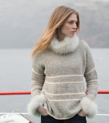 Frosted Boucle Sweater with boat neck