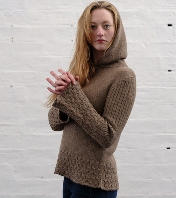 Cableknit Alpaca Sweater with Hood