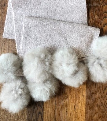 Frosted Alpaca Wrap with Fur Pom Poms